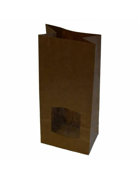 Brown paper bag with window 80x50x190mm 50pcs/pack