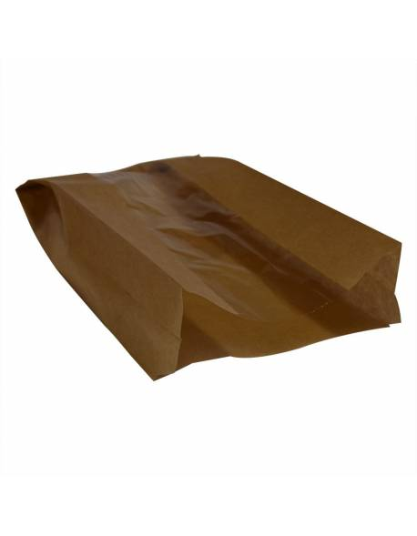 Brown paper bag with window 150x60/70x280mm 100pcs/pack