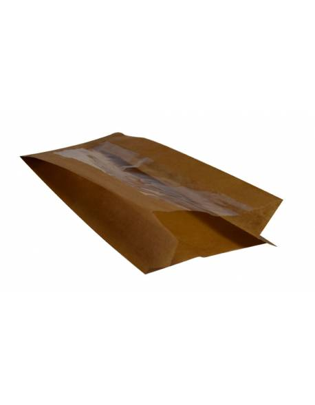 Brown paper bag with window 100x60/60x240mm 100pcs/pack