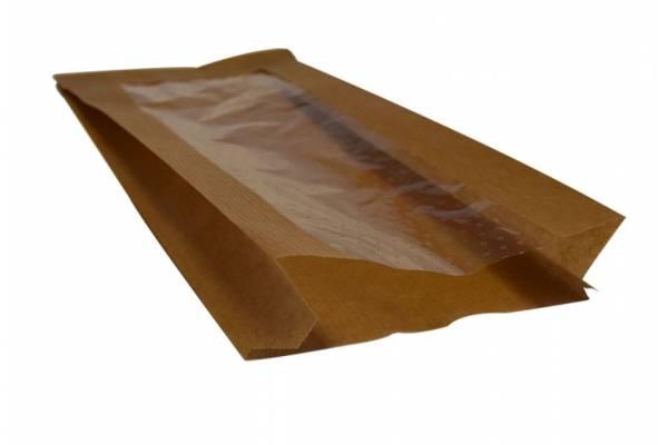 Popieriniai maišeliai su perforuotu langeliu 100x60x240mm/100vnt.