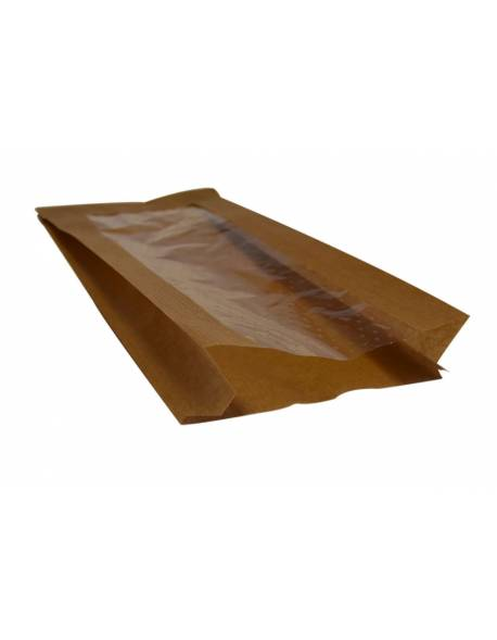 Brown paper bag with perforated window 100x40/60x240mm 100pcs/pack