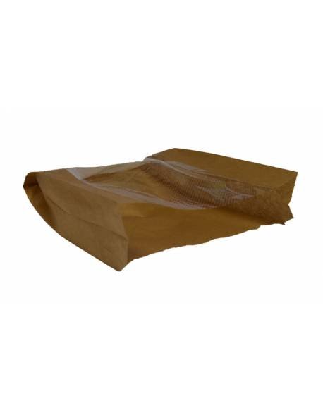 Brown paper bag with perforated window 180x60/130x250mm 100pcs/pack