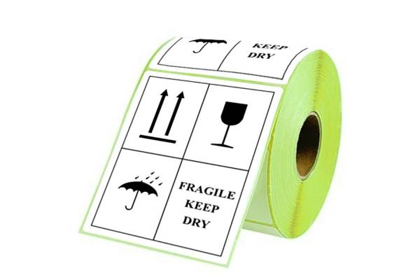 Sticky labels 98x150mm FRAGILE KEEP DRY