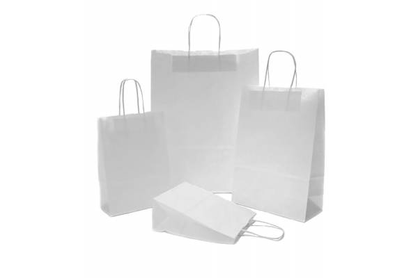 Paper shopping bag twist handles 320+140x420mm white