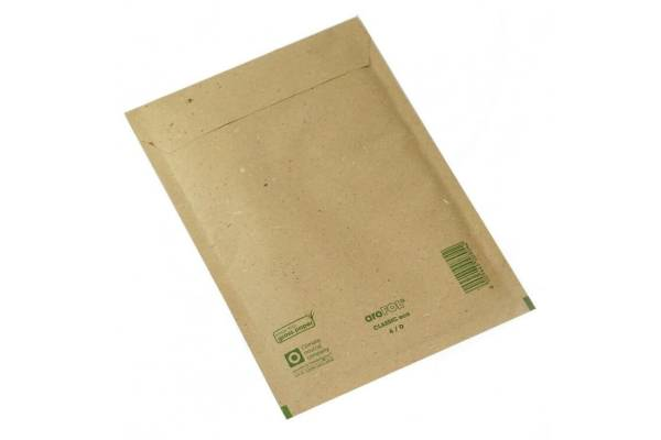 Kartoniniai vokai siuntoms užklijuojami su puslėta plėvele 200 x 275+50mm 100vnt/d. GRASS PAPER rudi/brown