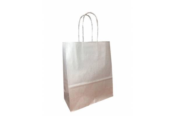 Dovanų maišelis 18cm x 8cm x 22cm Sidabrinė