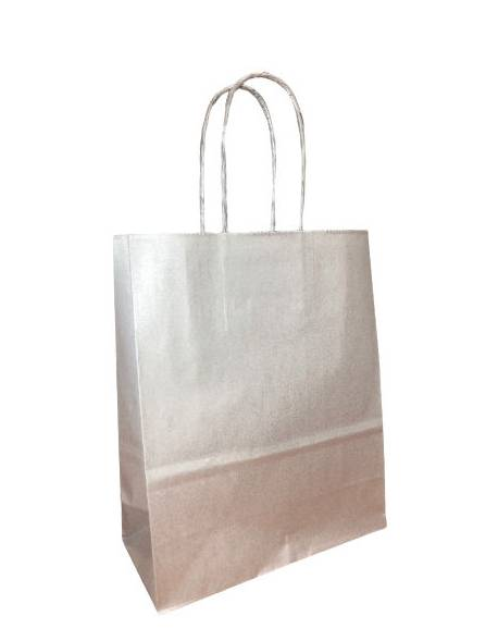 KRAFT BAG 18x8x22 SILVER/ Sidabriniai