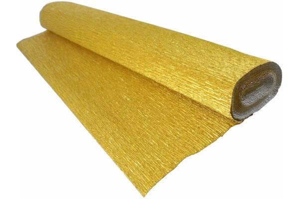 Metalizuoas krepinis popierius 50cm x 2,5m 180g - Auksinis