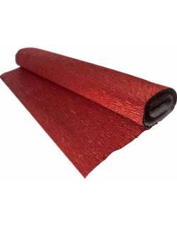 Metalizuoas krepinis popierius 50cm x 2,5m 180g - Raudonas