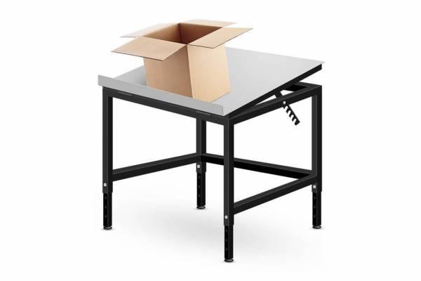 Kartoninių dėžių pakavimo stalas su pakreipiamu stalviršiu 60x60cm - RedSteel