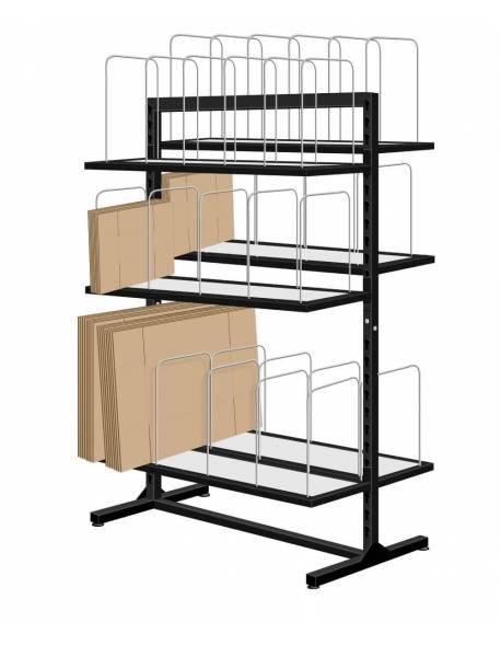 Stelažas su 6 lentynomis ir skyriais kartoninėms dėžėms/vokams 80x100cm