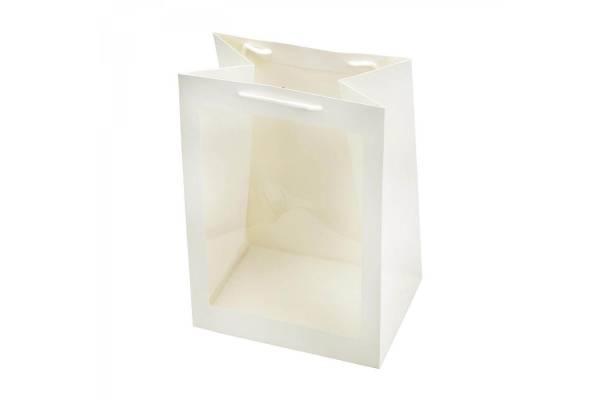 Dovanų maišeliai pailgi su skaidriu langeliu (baltas) 25x18x35cm