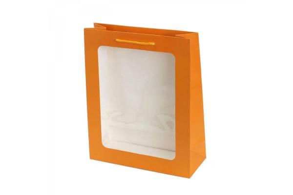 Dovanų maišeliai su skaidriu langeliu (Oranžinė) 26x10x32cm