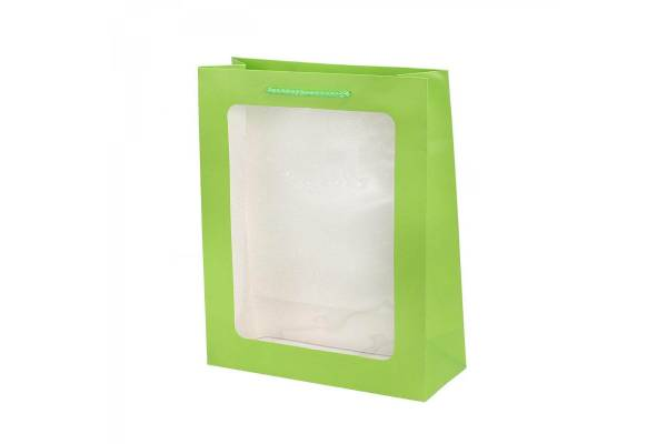 Gift bag with a transparent window 26cm x 10cm x 32cm