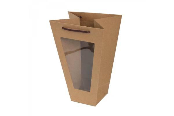 Dovanų maišeliai rudi platėjantys su skaidriu langeliu 11,5x22,5x33cm