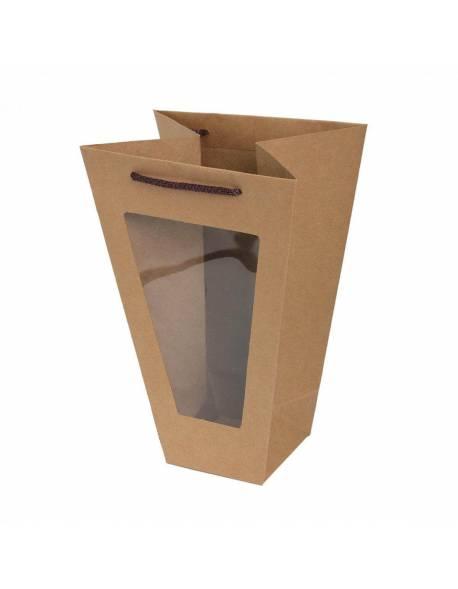 Dovanų maišelis su skaidriu langeliu 11,5cm x 22,5cm x 33cm