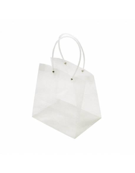 Permatomas plastikinis krepšelis 17,5cm x 22,5cm x 24cm