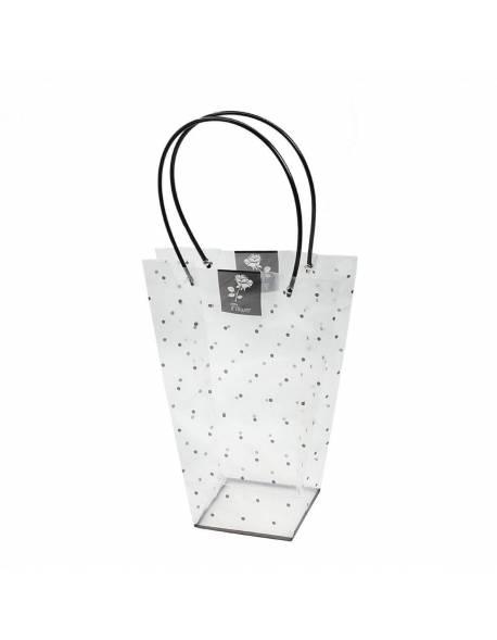 Permatomi pailgi krepšeliai su rankena (juodai taškuotas) 13x26x35cm