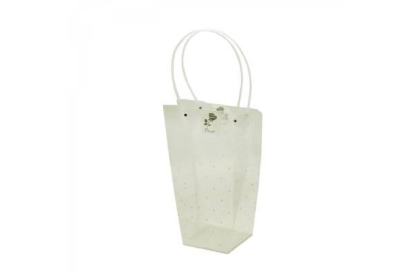 Permatomi pailgi krepšeliai su rankena (baltai taškuotas) 13x26x35cm