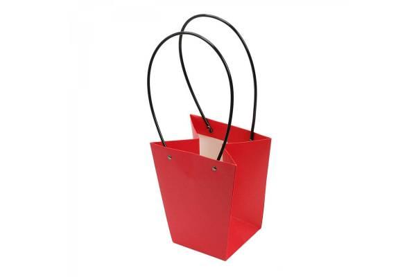 Kartoniniai krepšeliai platėjantys su rankena (Raudona) 15x13x9.5cm