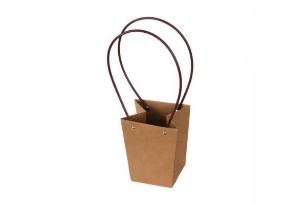 Rudi popieriniai krepšeliai su rankenomis (mažesni dydžiai) 12x12x12,5cm