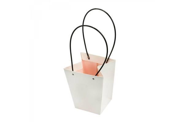 Kartoniniai krepšeliai platėjantys su rankena (Balta) 15x13x9.5cm