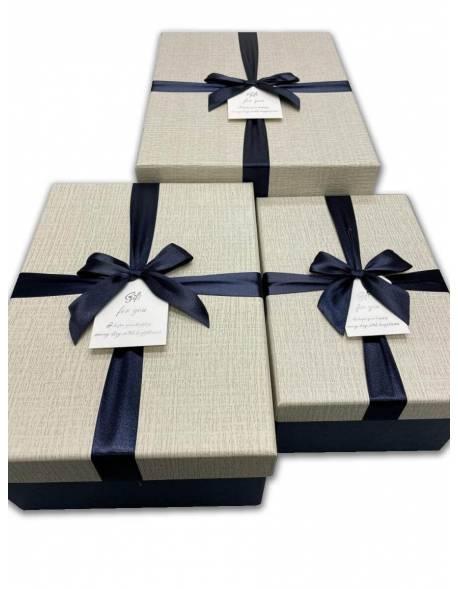 Stačiakampė dėžutė su kaspinėliu 3 dalių (mėlyna-balta)