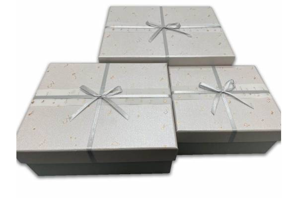 Square gift boxes with ribbon, 3 pcs.