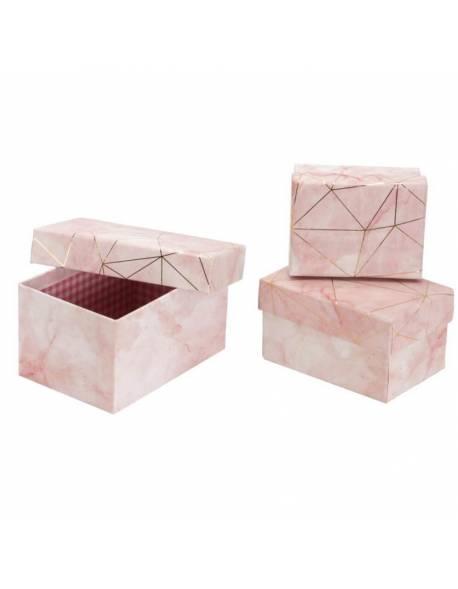 """Stačiakampių marmurinės spalvos dėžučių komplektas 3 dalių """"Grafika"""" (rožinė)"""