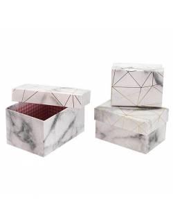 Marmurinės spalvos dovanų dėžutės, 3 vnt.