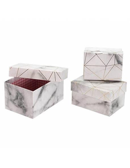 Stačiakampės, marmurinės spalvos dėžutės, 3 vnt.