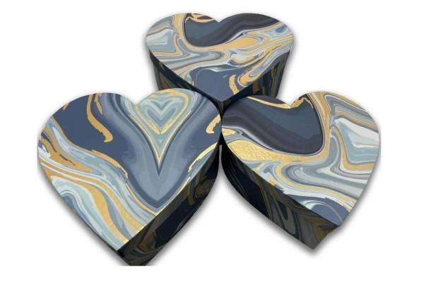 Širdelės formos dovanų dėžutės, 3 vnt.