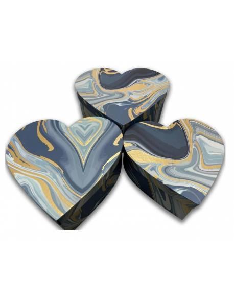 Širdelės formos dėžutės 3 dalių (marga-mėlyna)