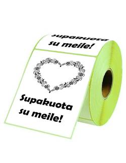 "Adhesive labels 98x150mm ""Packed with love!"""