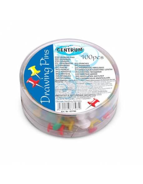 Spalvoti smeigtukai CENTRUM, spalvoti, (dėž.- 100 vnt.)