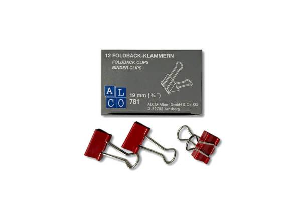 Spaustukai ALCO, 19 mm, 12 vnt. raudonos sp.