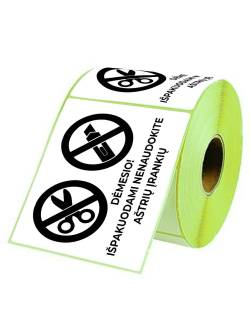 """Self-adhesive labels 98x150mm """"Do not use sharp objects"""""""