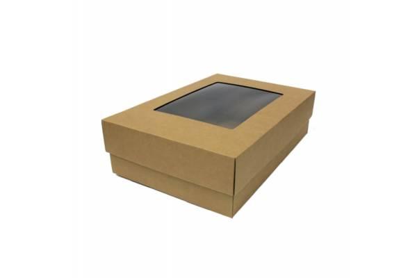 Cardboard box in 2 parts, with PVC window 350x240x100mm (M)