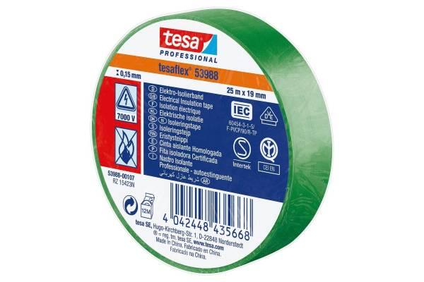 tesa flex PVC insulation tape 53988 19mmx20m green