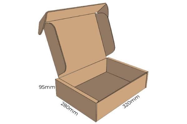 Cardboard box FEFCO 0427, 320x280x95mm