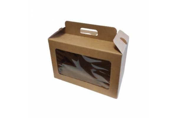 Kartoninė dėžė su rankena ir langeliu (L) 290x145x190mm