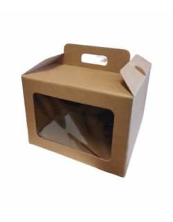 Kartoninė dėžė su langeliu ir rankenėlėmis 245x245x180mm (L)
