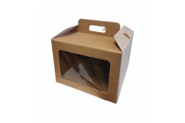 Kartoninė dėžė su langeliu ir rankenėlėmis (L) 245x245x180mm