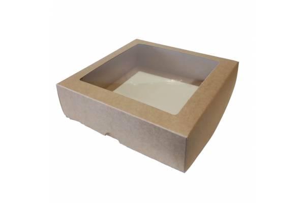 Kartoninė dėžė su PVC langeliu, 2-jų dalių (S) 210х210х60mm