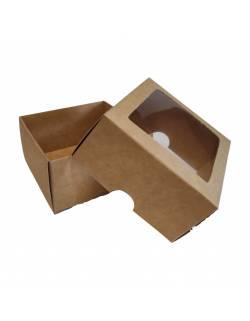 Kartoninė dėžė su PVC langeliu, 2-jų dalių 90х90х50mm (XS)