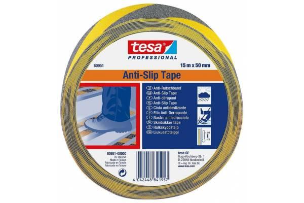 Slydimą mažinanti juosta TESA 6095 - Juoda/Geltona 50mm x 15m