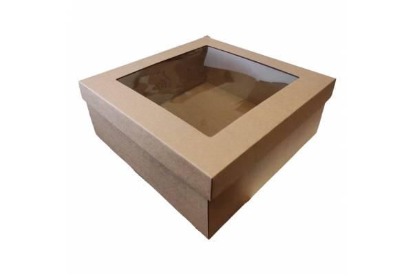 Kartoninė dėžė su PVC langeliu, 2-jų dalių (M) 310x310x120mm