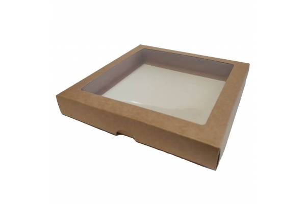 Kartoninė dėžė su PVC langeliu, 2-jų dalių (S) 200х200х30mm