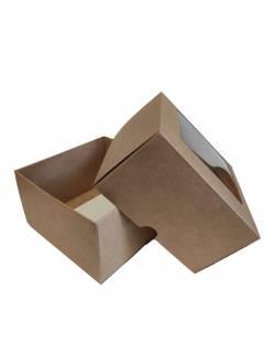 Kartoninė dėžutė 2-jų dalių, su PVC langeliu 120x120x70mm (XS)