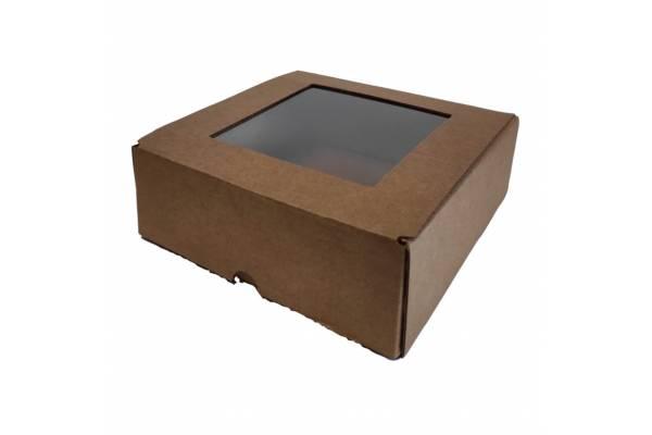 Kartoninė dėžė su PVC langeliu (XS) 150x150x50mm